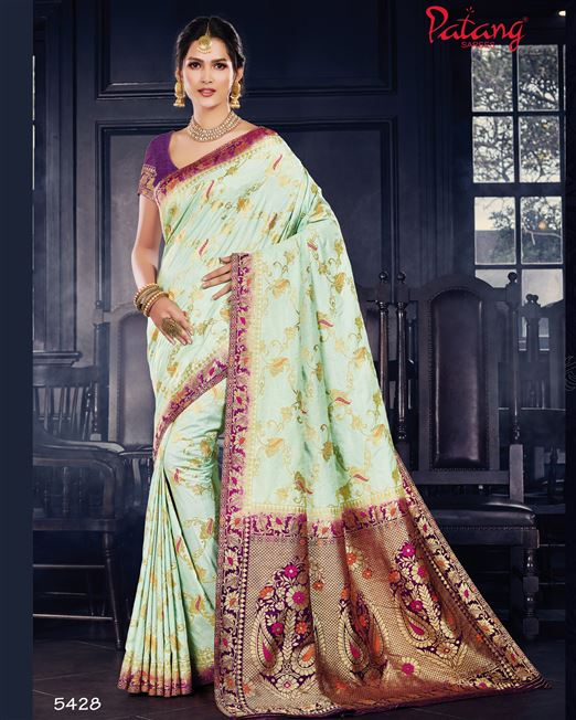 Patang Dola Silk Light Green Meenakari Saree