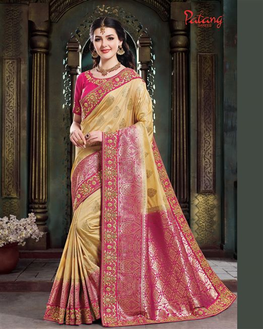 Patang Dola Silk Cream-Beige Wedding Jacquard pall